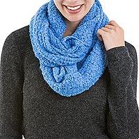 Alpaca blend infinity scarf, 'Sky Blue Infinity' - Handcrafted Blue Alpaca Wool Infinity Scarf