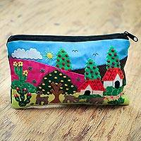 Cotton applique cosmetic bag, 'Country Scene' - Cotton Applique Folk Art Cosmetic Bag