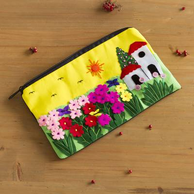 Applique cosmetic bag, Sunny Afternoon