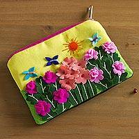 Applique coin purse, 'Butterfly Afternoon' - Andean Folk Art Cotton Applique Change Purse