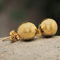 Gold plated stud earrings, 'Andean Sun' - Artisan Made 18k Gold Plated Ball Stud Earrings