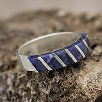 Sodalite band ring, 'Moche Harmony' - Women's Sodalite Inlaid Ring 925 Sterling Silver