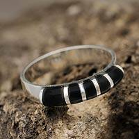Obsidian band ring, 'Moche Mystery' - Andean Silver and Obsidian Band Ring