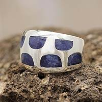 Sodalite dome ring, 'Blue Whisper' - Women's Sodalite Inlaid Dome Ring Sterling Silver 925