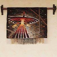 Alpaca tapestry, 'Nazca Hummingbird' - Handwoven Alpaca Signed Tapestry from Peru (20x25 in)