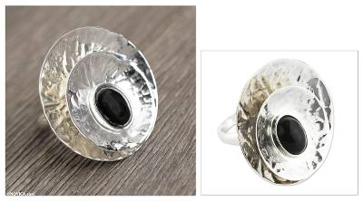 Obsidian and Hammered 925 Silver Cocktail Ring
