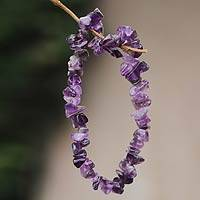 Amethyst stretch bracelet, 'Nature's Wisdom' - Handcrafted Amethyst Stretch Bracelet
