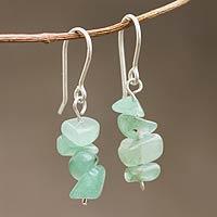 Beaded earrings, 'Nature's Creativity' - Beaded Green Quartz Earrings