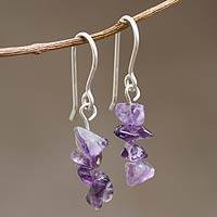 Amethyst beaded earrings, 'Nature's Wisdom' - Amethyst Beaded Dangle Earrings