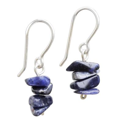 Handmade Sodalite Beaded Dangle Earrings