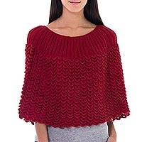100% alpaca poncho, 'Scarlet Petals' - Red Short Poncho Cloak Knitted by Hand