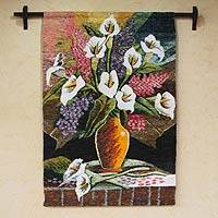 Wool tapestry, 'San Pedro Lilies' - Handwoven Wool Floral Tapestry from Peru