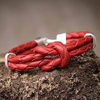 Leather braided bracelet, 'Love Knot' - Braided Red Leather and Sterling Silver Bracelet