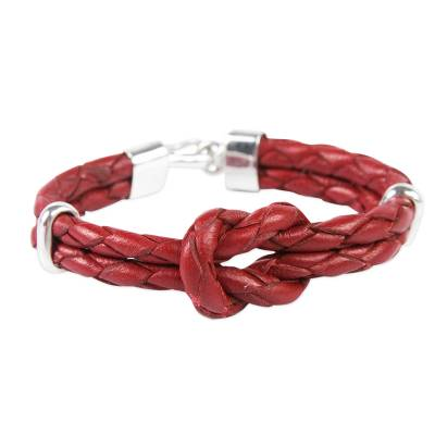 Braided Red Leather and Sterling Silver Bracelet