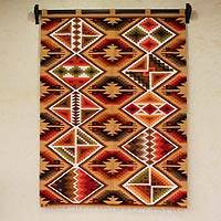 Wool tapestry, 'Warm Inca Symmetry' - Earth Tones Geometric Handwoven Wool Inca Tapestry (4x5)