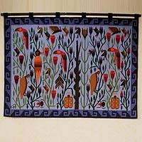 Wool tapestry, 'Blue Tropical Forest' - Blue Handwoven Tapestry with Birds (4x5)