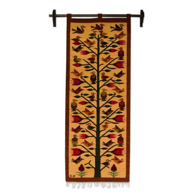 Wool tapestry, 'Birds of Peru' - Andean Earth Tone Wool Tapestry with Birds (2x5)