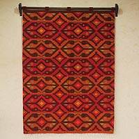 Wool tapestry, 'Andean Birdsong' - Colorful Geometric Handwoven Wool Tapestry (4x5)