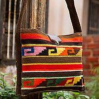 Wool shoulder bag, 'Inca Dusk'