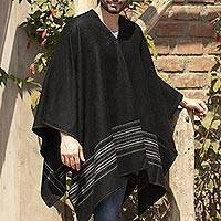 Men's alpaca blend poncho, 'Black Nazca' - Artisan Crafted V-neck Alpaca Blend Poncho for Men