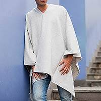 Men's alpaca blend poncho, 'Inca Explorer in Silver' - Men's Alpaca Blend Poncho with V-neck from Peru