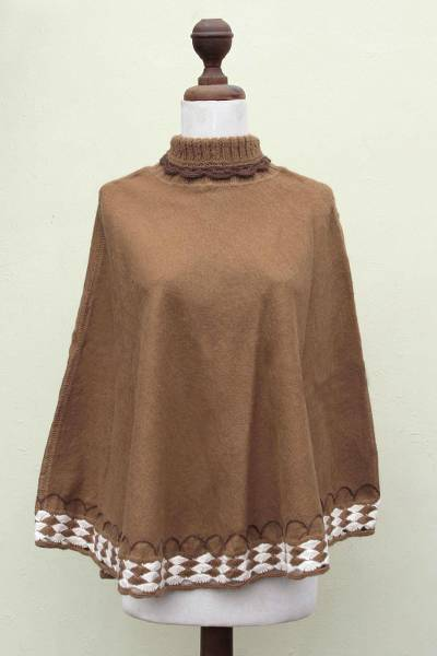 Alpaca blend poncho, 'Wari Splendor in Brown' - Women's Turtleneck Poncho Artisan Crafted in Peru