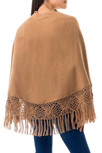 Alpaca blend cape, 'Ayacucho Muse' - Alpaca Blend Cape with Crocheted Flower Fringe