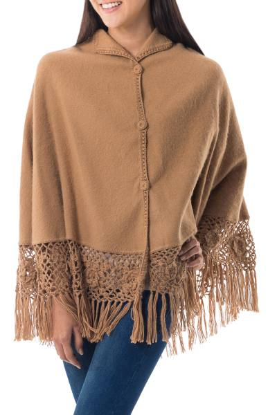 Alpaca Blend Cape with Crocheted Flower Fringe