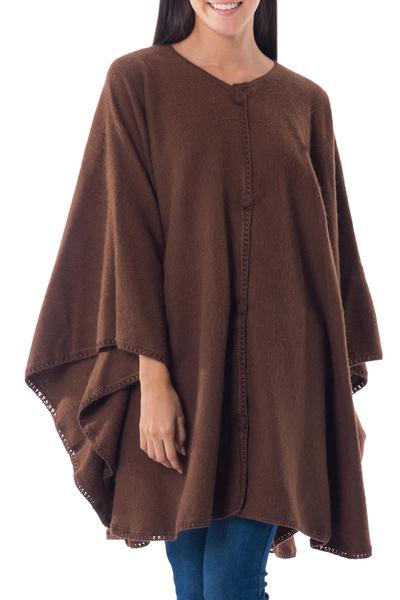 Button-down Cloak in Chocolate Brown from Peru