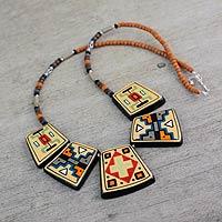 Ceramic pendant necklace, 'Paracas Secrets' - Peru Archaeological Replica Necklace in Hand Painted Ceramic