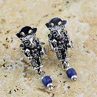 Sodalite dangle earrings, 'Brave Inca Warrior' - Artisan Crafted Sodalite and Sterling Silver Earrings