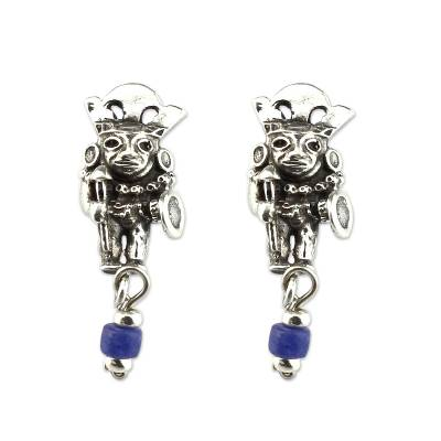 Artisan Crafted Sodalite and Sterling Silver Earrings