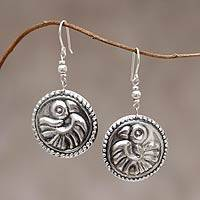 Sterling silver dangle earrings, 'Andean Condor' - Artisan Crafted Sterling Silver Earrings from Peru