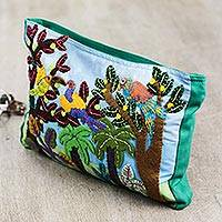 Cotton applique cosmetic bag, 'Peruvian Parrots' - Jungle Applique on Turquoise colour Cosmetics Bag