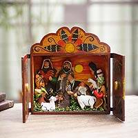 Wood and ceramic nativity scene, 'Christmas Gifts' - Wood and ceramic nativity scene