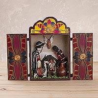 Wood and ceramic nativity scene, 'Jesus in the Andes' - Wood and ceramic nativity scene