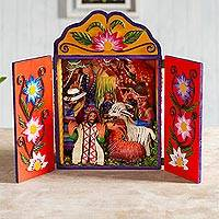 Wood and ceramic nativity scene, 'Christmas Joy' - Wood and ceramic nativity scene