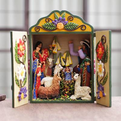 Wood and ceramic nativity scene, 'Christmas Fiesta' - Handmade Andean Retablo Nativity Scene