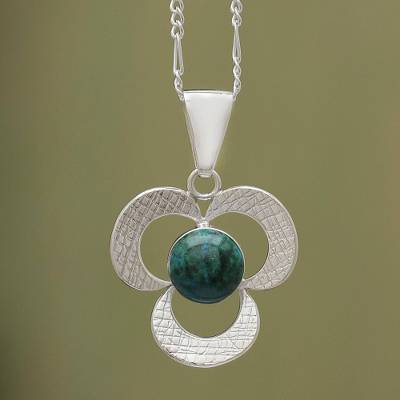 Chrysocolla pendant necklace, 'Andean Clover' (1.6 inch) - Artisan Crafted Chrysocolla Pendant Necklace