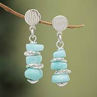 Amazonite dangle earrings, 'Celestial Beauty' - Handcrafted Amazonite Dangle Earrings