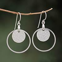 Sterling silver dangle earrings, 'Union of Circles' - Handmade Modern 925 Silver Dangle Earrings