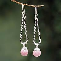 Rhodonite dangle earrings, 'Rose Drop Twist' - Handmade Silver and Rhodonite Dangle Earrings