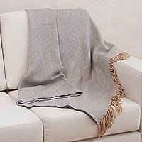 Throw blanket, 'Warm Mist' - Alpaca Blend Beige and Grey Throw from Peru