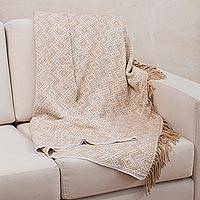 Throw blanket, 'Hypnotic Beige' - Peruvian Throw with White and Beige Diamonds