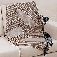 Throw blanket, 'Sunset Symphony' - Patterned Throw in Grey Beige and Black from Peru