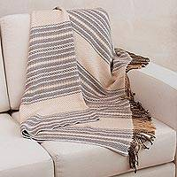 Throw blanket, 'Dunes' - Alpaca Blend Patterned Throw from Peru
