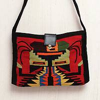 Leather accent wool shoulder bag, 'Andean Scarab' - Handwoven Leather Accent Shoulder Bag from Peru