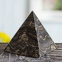 Stromatolite pyramid, 'Life's Essence' - Natural Gemstone Pyramid Stromatolite Fossil Sculpture