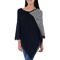 Alpaca blend poncho, 'Huancayo Harlequin' - Black and White Alpaca Poncho with Crochet Borders