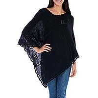Alpaca blend poncho, 'Huancayo Diamonds' - Black Alpaca Blend Poncho from Peru